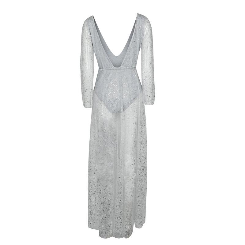 Womens Elegant Long Sleeve Deep V-Neck Backless Tulle Romper Bodysuit Maxi Dress