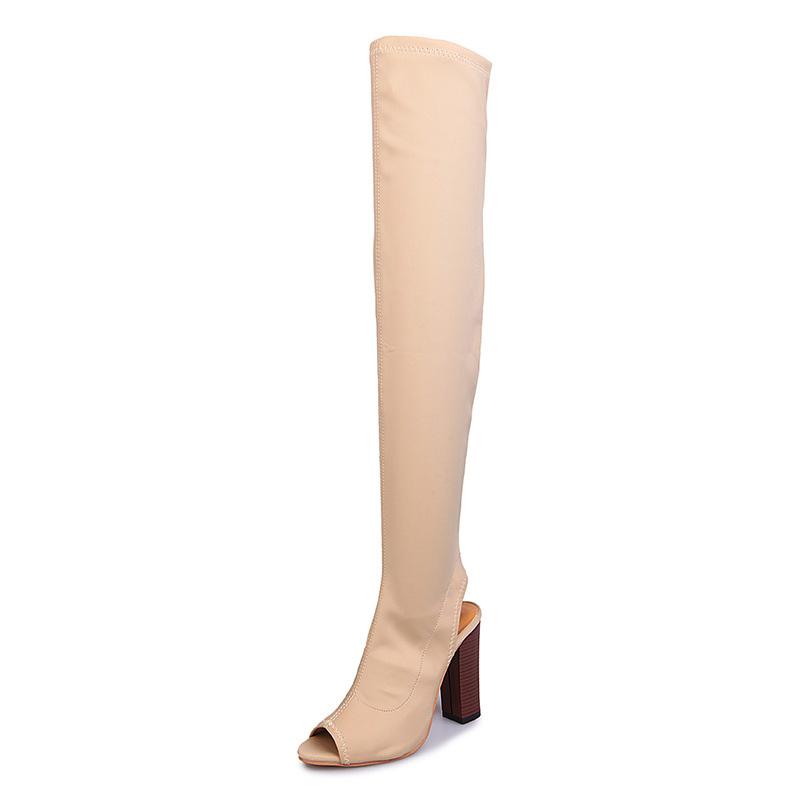 damen oberschenkel block ferse ber die knie peep toe stretch stiefel schuhe ebay. Black Bedroom Furniture Sets. Home Design Ideas