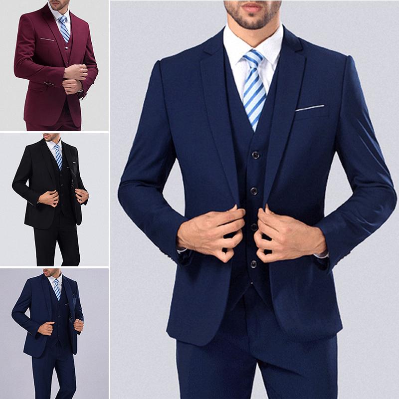 3 Pieces Men One Button Slim Fit Wedding Party Suits Short Jacket Pants Vest New | EBay