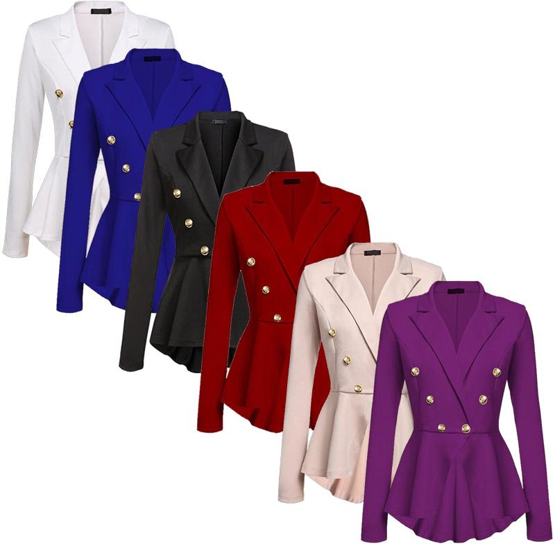 hot damen business zweireihig knopf formelle blazer damen mantel jacke oberteile ebay. Black Bedroom Furniture Sets. Home Design Ideas