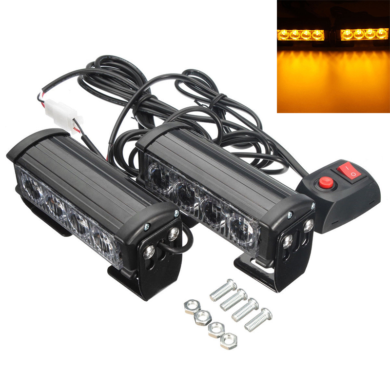 2 x 12v 4 led ambr secours clignotant voiture camion urgence grille barre feu ebay. Black Bedroom Furniture Sets. Home Design Ideas