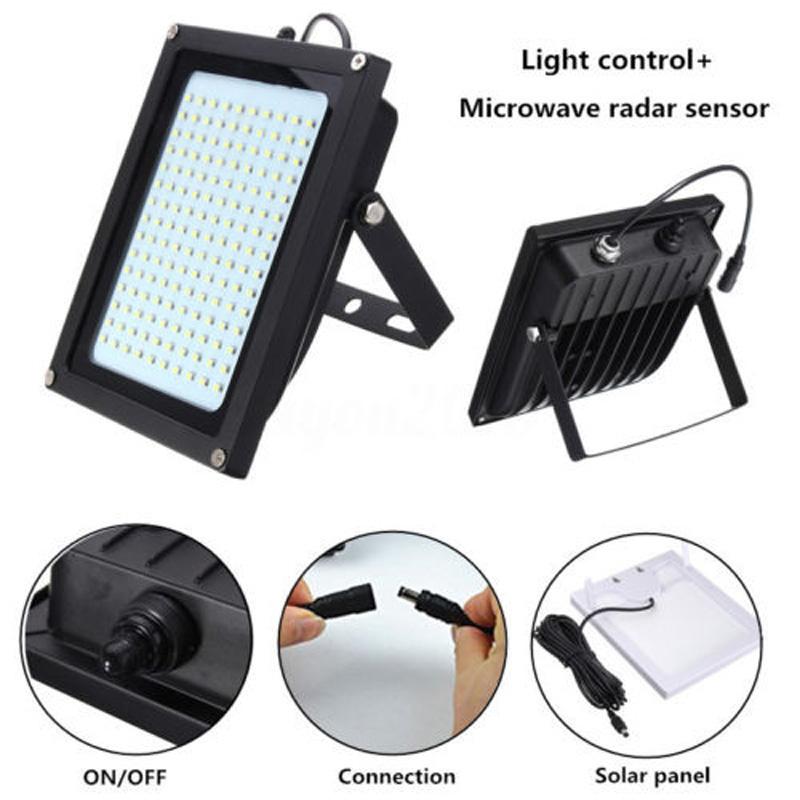 150 led solar scheinwerfer licht radar bewegungsmelder. Black Bedroom Furniture Sets. Home Design Ideas