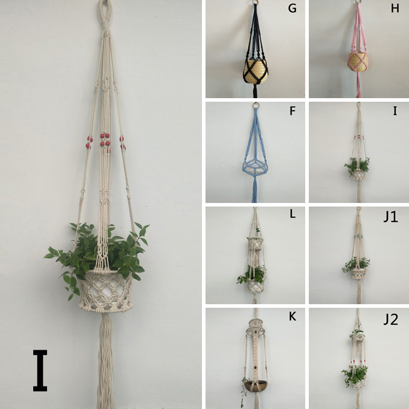 macrame hanging basket vintage handcrafted braided rope macrame hanging basket 7389